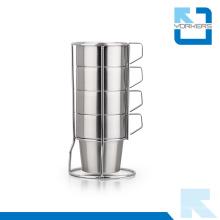 4 piezas de taza de café de acero inoxidable y taza de leche con estante estable