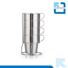 4 Pieces of Stainless Steel Coffee Mug and Milk Cup with Stable Rack