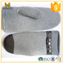 Cashmere lined Unisex Women Wool Mittens with Leather Belt