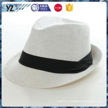 Последние прибытия хорошего качества моды хлопка и джутовой ткани соломы шляпы fedora мужчин шляпы бесплатно поставщик фарфора образца