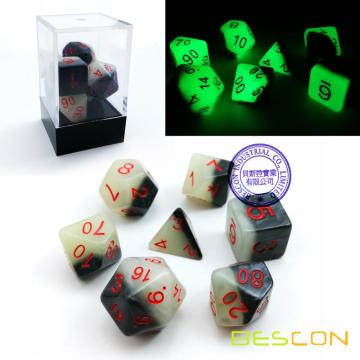 Bescon Gemini Reding Polyhedral Dice 7pcs Set GREEN DAWN, Luminous RPG Dice Set d4 d6 d8 d10 d12 d20 d%, Brick Box Packaging