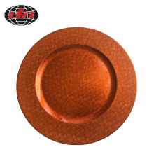 Orange plastic Plate with Metallic Finish