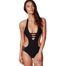 Europa sexy mulheres swimwear beachwear pendurado no pescoço preto sem forro biquini swimwear