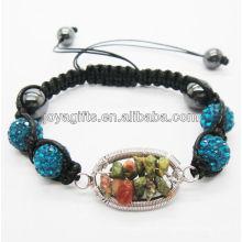 Nueva pulsera tejida de las bolas cristalinas azules del diseño los 10MM