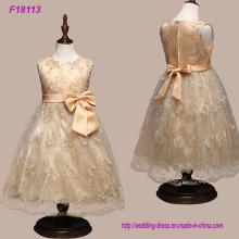 Real Sample High Quality Flower Girls Dresses Sparkly Gold Sequins Kids Long Vestidos de festa de casamento formal Sem mangas Open Back Bow Sash