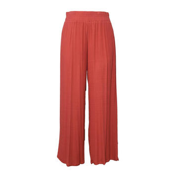 Wrinkled Rayon Wide Leg Pants Women Trousers
