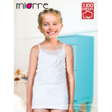 Miorre OEM Children Kid's Girl Comfortable Elegant Lace Detailed %100 Cotton Tank Top