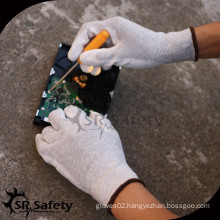 SRSAFETY ESD glove, nylon-carbon knitted liner coated white PU on palm, safety working gloves
