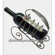 Estante de vino de bronce retro de la venta caliente, sostenedor de la botella de vino del metal