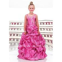 Rebordeado appliqued por encargo vestido de fiesta vestidos de chica de flor CWFaf3354