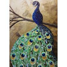 Pintura al óleo animal del pavo real del cuchillo hecho a mano