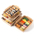 Customized brown kraft paper food box salad fruit paper container disposable food lunch packing box