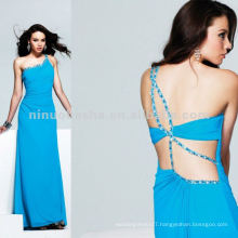 One shoulder Stretch Jersey with beaded back detail evening dress