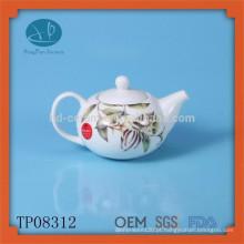 Bule de cerâmica com decalque, bule de cerâmica moda com design, pote de chá pintado à mão