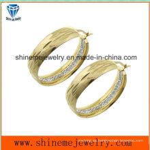 Shineme joyería de vacío de chapado de oro pendiente con CZ (ERS6965)