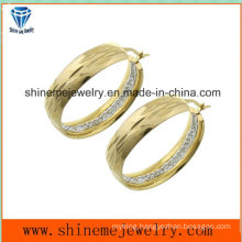 Shineme Jewelry Vacuum Plating Gold Stud Earring with CZ (ERS6965)