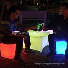 luz resplandor led cube asiento usada evento al aire libre muebles colores RGB llevó la silla de la barra luz cubo