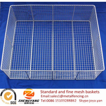 Wholesale SS wire mesh rectangular disinfecting containers surgical tools loading trays standard and fine mesh baskets