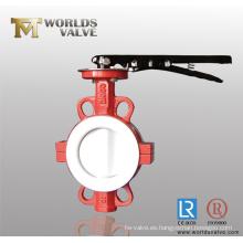 Fractura cuerpo PTFE revestimiento Wafer Válvula de mariposa con CE & ISO