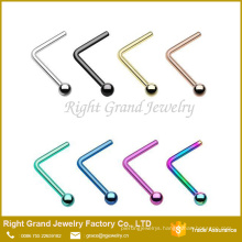 Unisex L Shaped available customized Ball L shaped nose studs