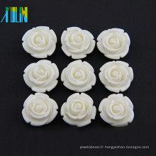 perles de fleur de résine de dos plat couleur blanche TY066