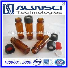 Frasco para extrusão automática de 4ml de visor de vidro âmbar com tampa preta