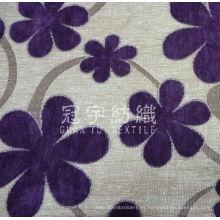 Tejido de chenilla jacquard decorativo con estampado de flores