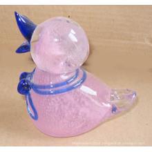 Pequeno, vidro, estatueta, pato, rosa