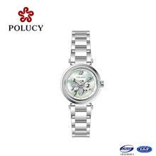 Blume im Zifferblatt alle Edelstahl Swiss Ronda Quarzwerk Lady Watch