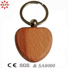Cadeaux promotionnels en forme de coeur porte-clés en bois vierge