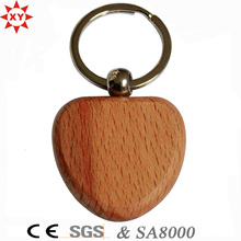 Promotion Gifts Heart-Shaped Blank Wooden Keychain