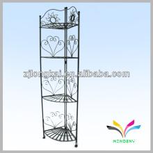 Floor style 4-tier classical elegant metal black garden wall flower pot shelf