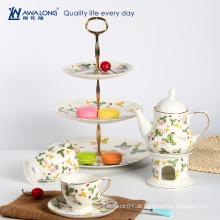 O copo de café novo da porcelana do osso com o jogo de chá inglês tradicional da porcelana