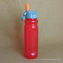 Garrafa de esporte plástica com palha