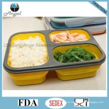 Récipient de stockage de nourriture en silicone Boîte à lunch pliante Bento Sfb09