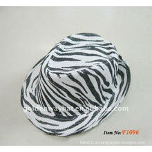 Moda barato Papel Fedora Chapéus novo zebra-stripe festa chapéu