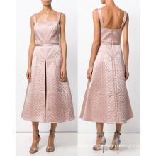Apricot Plaid A Line Quality Dress