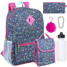 Girl's 6 in 1 school bag Backpack Set With Lunch Bag, Pencil Case, Keychain, and Accessories