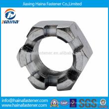 GB6178 aço inoxidável ss304 ranhurado porca hexagonal