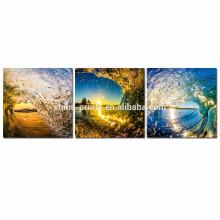 Arte de la pared de la lona de la onda del mar para la venta al por mayor / sol en el paisaje del océano Impresión de la lona / ilustraciones de la lona del paisaje marino del tríptico
