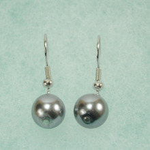Grey Big Pearl Dangle Earrings