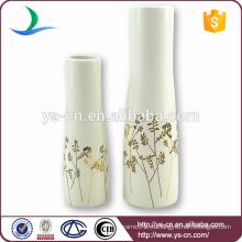 YSv0040 Jarrón de cerámica de decoración con diseño floral dorado