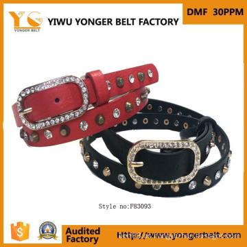 Mujer moda PU damas elástico cinturón con diamantes de imitación
