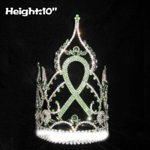 10in Height Green Ribbon Crystal Pageant Crowns