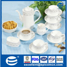 17pcs серебряный чай печатания конструкции установленный в новом материале фарфора косточки