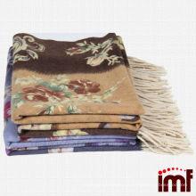 Blumen- und Leopard-Druck-Woll-Schal-Decke