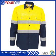 Camisas de trabajo a medida con cinta reflectante de ventilación trasera (YWS119)