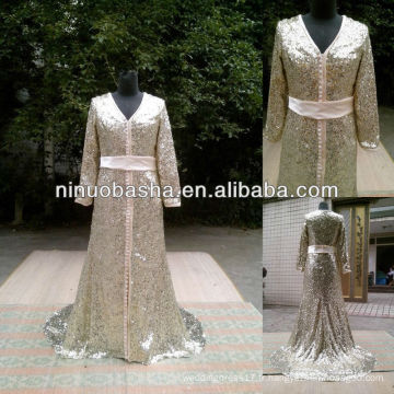 NW-425 Long Sleeve Sequin Lace Real Sample Robe de soirée