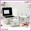 3 em 1 conjunto luz beleza caso prata espelho jóias caixas (sasc026)