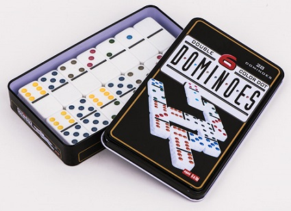 Domino Game Set In Tin Box With Colorful Dots